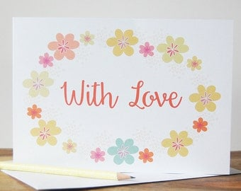 With Love Greeting Card, Floral With Love Card