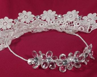 White short veil, Bridal veil, Wedding veil, Swarovski headband, Guipure lace veil, Wedding veils crystal, Wedding veil with crystals, UK