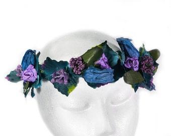 Navy flower crown, Purple floral crown, Flower head wreath, Flower girl hair wreath, Navy wedding, Lana Del Ray, Uk sellers only