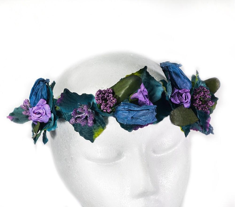 Flower Crown Purple: Navy Flower Crown Purple Floral Crown Flower Head Wreath