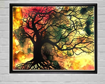 Large Abstract wall Art Home Decor Orange Red Sunset Color Digital Print Living Bed Room Decor Large Print Tree of life