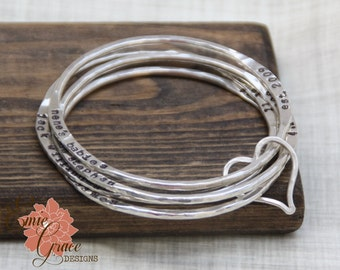 Sterling Silver Bangles Through a Heart, Set of Four, Moms Bracelet, Grandmas Bracelet, Hand Stamped Names, Personalized, Fine Silver
