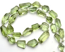 Natural Gem Super Quality Prasiolite Faceted Nuggets 19 Inch Full Strand Approx. 9 to 12MM Broad and 13 to 22MM Long Nuggets AAA Quality