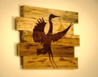 Heron painting Blue heron art Lake house decor Lake house art Beach house decor Rustic beach art Coastal decor Pallet art Rustic wall art
