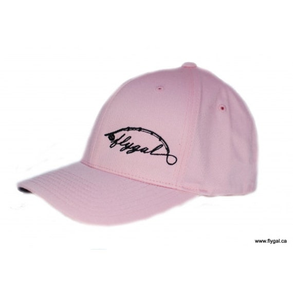 Items similar to flygal fly fishing hat pink black for Youth fishing hats