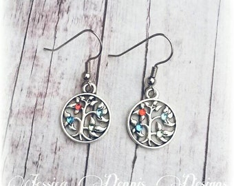 Family Tree Birthstone *  Hand made Earrings * Woods * Antique Silver * Beautiful * Mom * Grandma * Dainty * Mother's Day