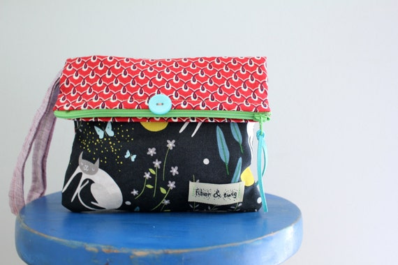 Fold Over Clutch Purse for Tween Girls/Wristlet for Girl/Kitty Dreams by Lizzie House/Handbag for Girls