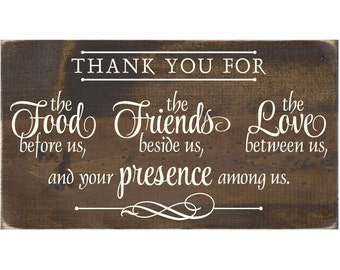 Christian Plaque Rustic Wood Sign Wall Decor - Thank You For the Food Before Us The Friends Beside Us The Love Between Us  (#1309)