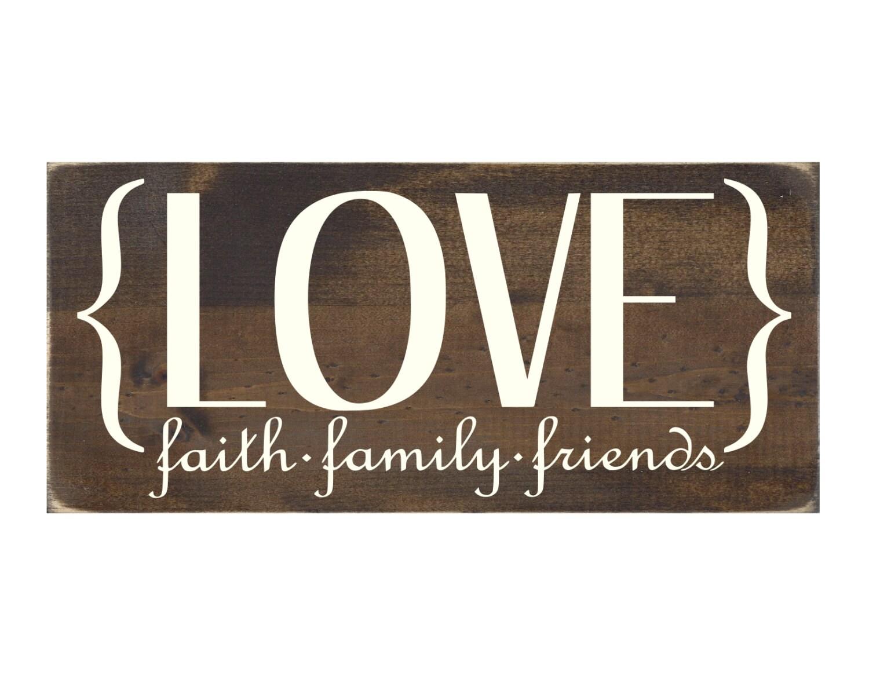 Rustic Wood Sign Home Wall Decor Love Faith Family