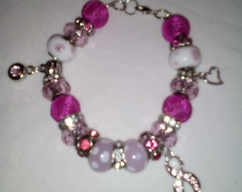 Pink and Silver Bracelets with Charms