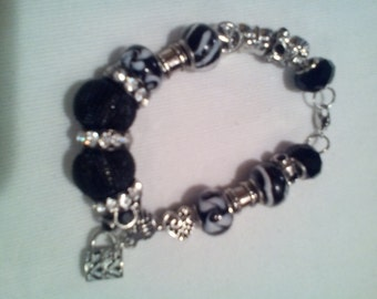 Black and White Sterling Silver with Charm Bracelets