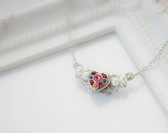 Silver Sailor Moon - Love Heart Moon Princess Necklace (Made to order)
