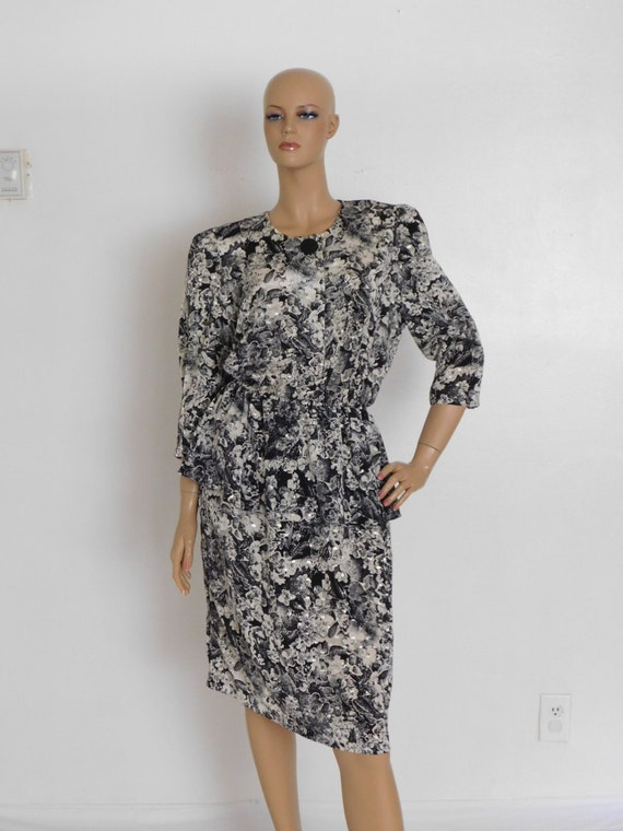 vintage 1980s secretary black and white peplum dress cyber monday sale