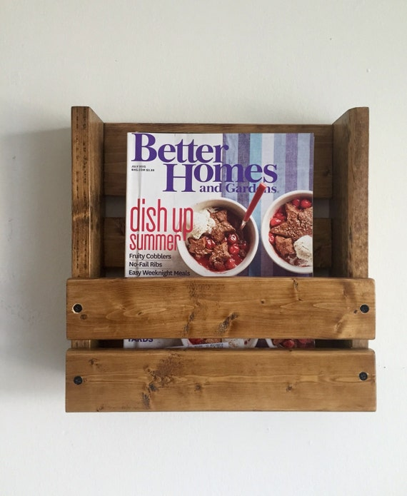 Rustic Magazine Book Holder Wall Mounted