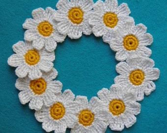 "Daisies crochet  Set of 10 Daisies  Decorative flowers 1,2"" White flower"