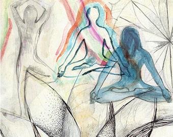 Yoga Art Print, Yoga Poster, Yoga Wall Art, Collage Yoga Asana, Original Illustration, Vintage Yoga Art