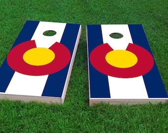 Colorado State Flag Themed Light Weight (1x4) Regulation Size Custom Cornhole Board Game Set - Corn Hole - Bag Toss