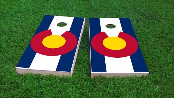 Colorado State Flag Themed 2x4 Custom Cornhole Board Set With