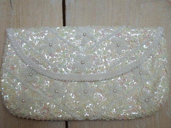 Bianco perline frizione paillettes borsa di vintageontheline