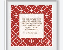 "Framed BIBLE VERSE Print, 2 Timothy 1:15, Home Décor, Office Décor, 12""x12"", White Frame"