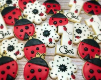 Lady Bug Themed Decorated Sugar Cookies