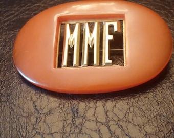 Bakelite Vintage Initial Pin Brooch MMF