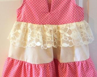 Girls Dress with Lace Peplum