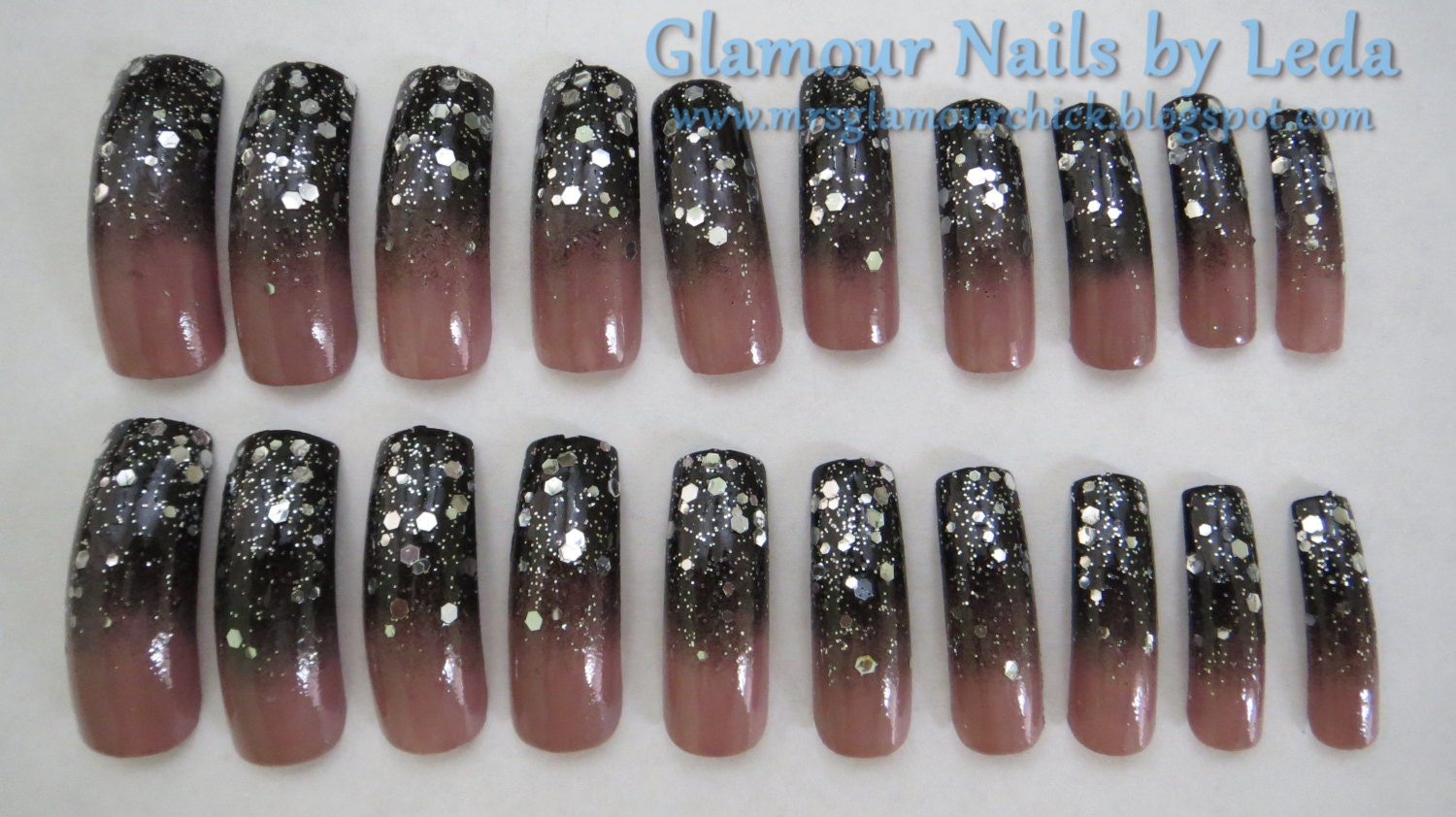 Black to taupe gradient gradient nail art silver glitter nail black to taupe gradient gradient nail art silver glitter nail art long press on nails full well nails taupe nails black nails prinsesfo Image collections
