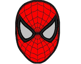 Spiderman Mask Applique Embroidery Design in 3 Sizes - Instant Download