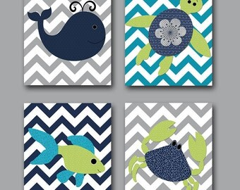 Sea Instant Download Art Crab Fish Whale Turtle Digital Art Print Digital Download Art Baby Room Decor Baby Boy Nursery set of 4 8x10 11X14