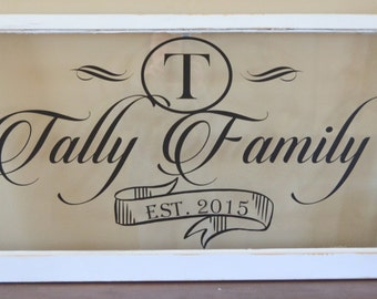 Antique window family name sign-wedding or anniversary gift