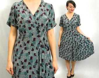 40s Crepe Print Dress | Turquoise Silk Crepe Day Dress |  Large