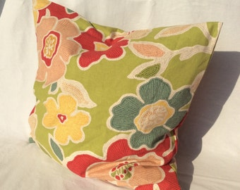Red, Coral, Green, Yellow Pillow,Bold Floral Pillow, Colorful Pillow, Accent Pillow, Toss Pillow,Decorative Pillow