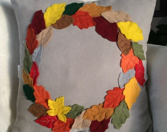 Fall Wreath Pillow Cover, Thanksgiving Decor, Fall Accent Pillow