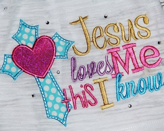 5x7 Jesus loves me this I know 5x7 embroidery design, christian, religious design