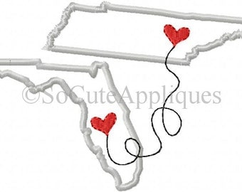 Embroidery design 5x7 Tennessee to Florida connected at heart, embroidery sayings, socuteappliques, Tennessee applique, Florida Applique
