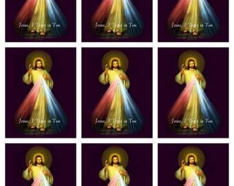 Digital DIY Print Divine Mercy Jesus 3 Printable Sheets of 9 Catholic images each