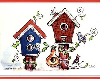 Summer Birdhouse Bird Cards