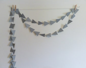 Gray Triangle Tribal Geometric Paper Garland | Geometric Party Decor