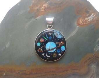 Moon Star Inlay Space Moon Inlay Pendant Silver Pendant Space Jewelry Moon Inlay with Turquoise, Opal and Mother of Pearl