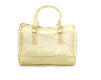 LaMania Jelly Candy Glitter Doctor's Style Croc Handbag Purse Shoulder Bag Gold