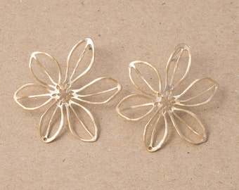Flower Earrings, 925 Silver Post, Jewelry Craft Supplies,Earring Making, Matte Gold Plated Over Brass- 2 Pieces-[AE0007]-MG