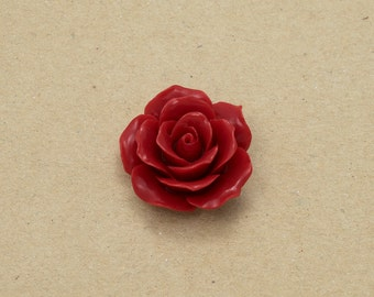 Rose Flower Resin Cabochon Flower Cabochon - Red Color - 4 Pieces-[AD0001]-RED