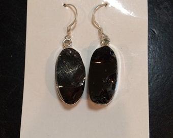 Shungite earrings - Raw Shungite Pendant - elite shungite jewelry - noble shungite - healing crystal necklace - sterling silver - Shungite