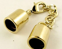 Beading clasp 1015, 11mm x 58mm (adjustable with chain, inside diameter 8.5mm, gold plated, 10 pcs