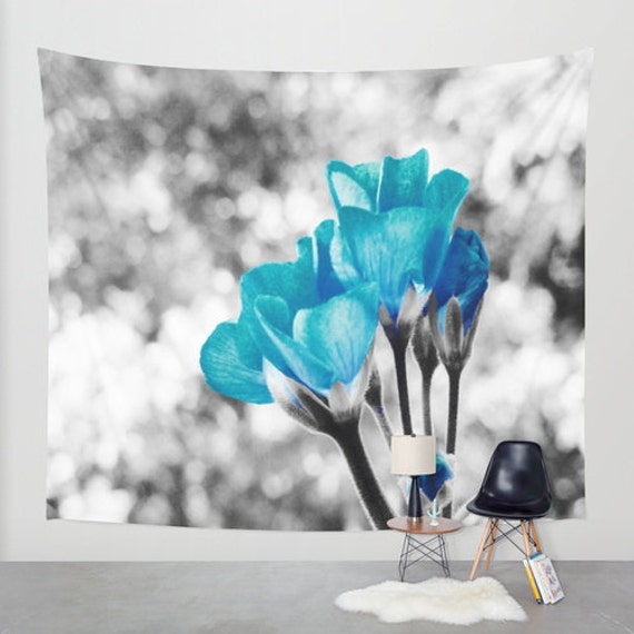items similar to wall tapestry turquoise gray floral wall hanging wall decoration. Black Bedroom Furniture Sets. Home Design Ideas