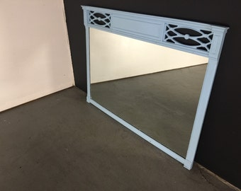 Eastlake Style Victorian Large Wall Mirror Early Century Vintage Ornate Frame Art Nouveau Deco Flowers Architectural Lattice Frame Sky Blue