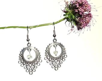 Quartz silver earrings, chandelier dangle earring, clear crystal earrings, rock crystal jewelry, natural quartz jewelry, yoga, pagan, syn