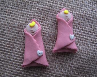 Handmade Crafting Embellishments...4pk...Baby Girl