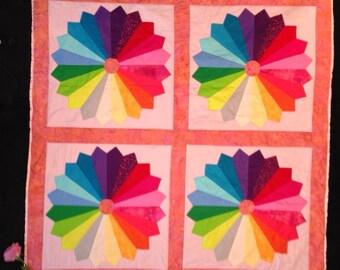 Baby Quilt in Patchwork Rainbow